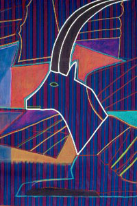 Impala  (figures animals, Acrylic on Fabric) - Fine Art by Donald G. Vogl, Fort Collins, Colorado