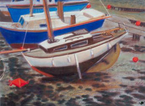 Low Tide Auray, France (landscapes, Pastel) - Fine Art by Donald G. Vogl, Fort Collins, Colorado
