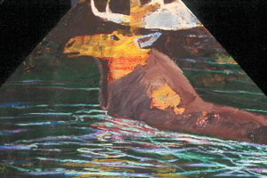 Swimming Moose  (figures animals, Acrylic) - Fine Art by Donald G. Vogl, Fort Collins, Colorado