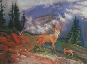 Olympic Deer  (figures animals, Pastel) - Fine Art by Donald G. Vogl, Fort Collins, Colorado