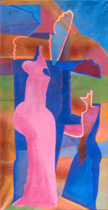 Support  (abstracts figures, Acrylic) - Fine Art by Donald G. Vogl, Fort Collins, Colorado
