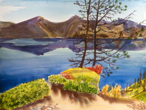 Across Crater Lake Oregon (landscapes, Watercolor) - Fine Art by Donald G. Vogl, Fort Collins, Colorado