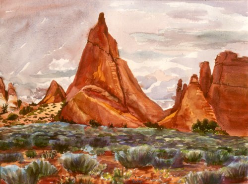 Arches Towers Arches National Park, Utah (landscapes, Watercolor) - Fine Art by Donald G. Vogl, Fort Collins, Colorado