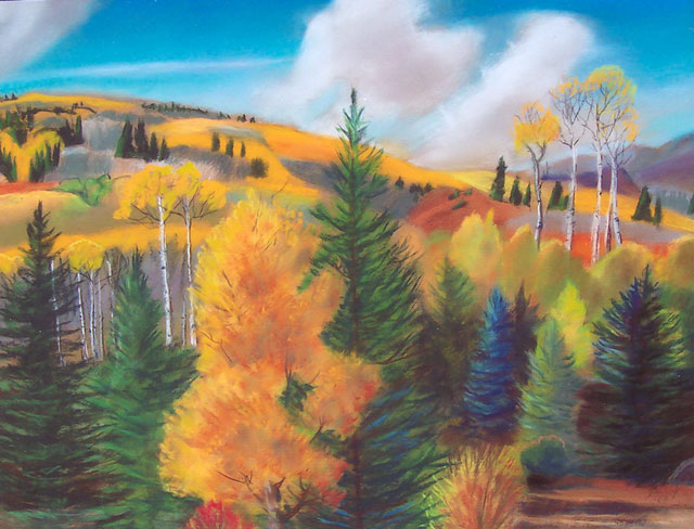 Aspen Campground Colorado (landscapes, Pastel) - Fine Art by Donald G. Vogl, Fort Collins, Colorado