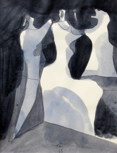 Attended  (abstracts figures monochromes, Acrylic) - Fine Art by Donald G. Vogl, Fort Collins, Colorado