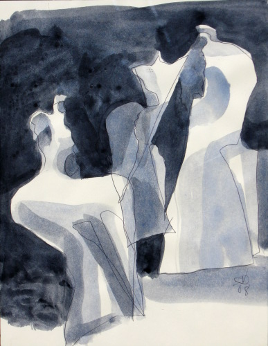 Attraction  (abstracts figures monochromes, Acrylic) - Fine Art by Donald G. Vogl, Fort Collins, Colorado