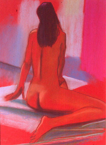 Back Again  (figures nudes, Pastel) - Fine Art by Donald G. Vogl, Fort Collins, Colorado