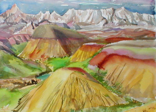 Badlands Badlands National Park, South Dakota (landscapes, Watercolor) - Fine Art by Donald G. Vogl, Fort Collins, Colorado