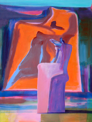 Big Screen  (abstracts figures, Acrylic) - Fine Art by Donald G. Vogl, Fort Collins, Colorado