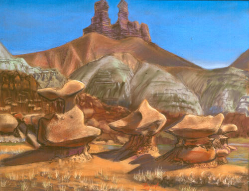Bird Forms Goblin Valley State Park, Utah (landscapes, Pastel) - Fine Art by Donald G. Vogl, Fort Collins, Colorado