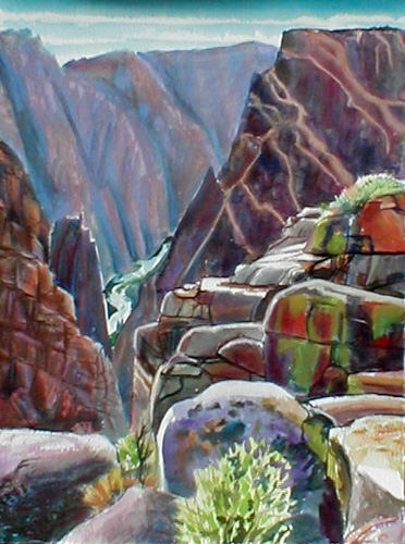 Black Canyon of the Gunnison Gunnison, Colorado (landscapes, Watercolor and Pastel) - Fine Art by Donald G. Vogl, Fort Collins, Colorado