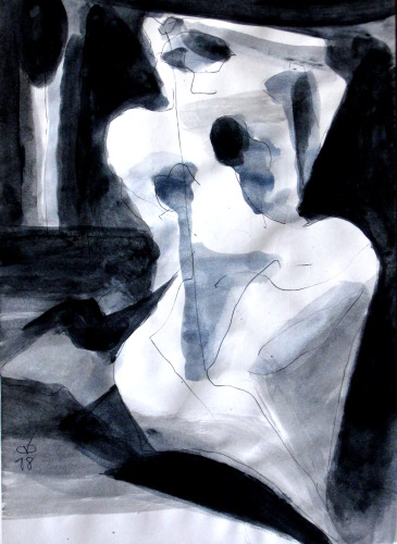 Blinding Light  (abstracts figures monochromes, Acrylic) - Fine Art by Donald G. Vogl, Fort Collins, Colorado
