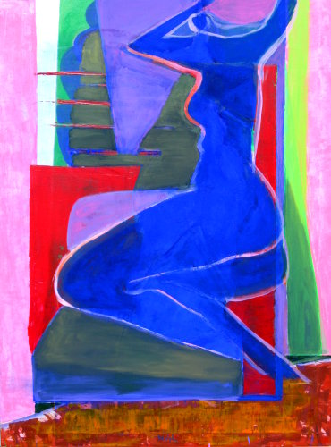 Blue Nude  (abstracts figures nudes, Acrylic) - Fine Art by Donald G. Vogl, Fort Collins, Colorado