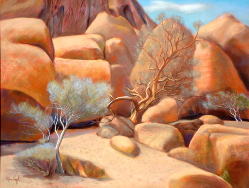 Have You Hugged a Tree Today? Brandberg Mountain, Namibia (landscapes, Pastel) - Fine Art by Donald G. Vogl, Fort Collins, Colorado