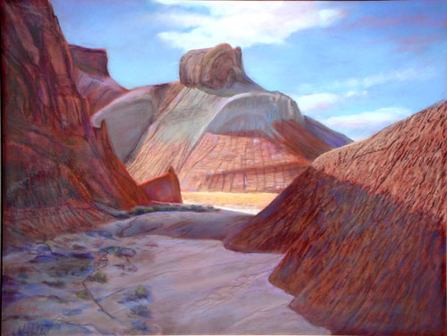 Bright Path (The Throne) Goblin Valley State Park, Utah (landscapes, Pastel) - Fine Art by Donald G. Vogl, Fort Collins, Colorado