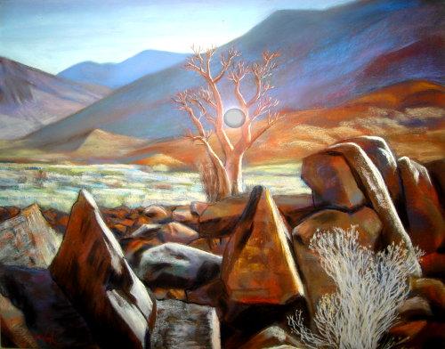 Near Burnt Mountain Namibia (landscapes, Pastel) - Fine Art by Donald G. Vogl, Fort Collins, Colorado