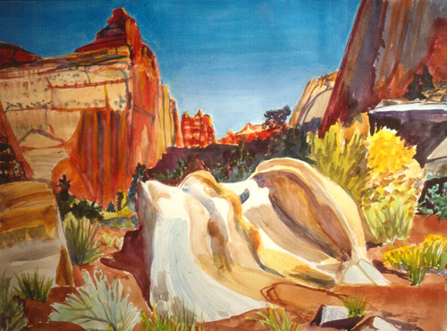 Capitol Reef Capitol Reef National Park, Utah (landscapes, Watercolor) - Fine Art by Donald G. Vogl, Fort Collins, Colorado