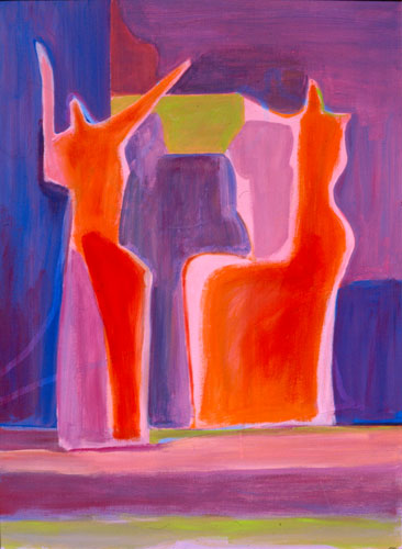 Changing Places  (figures, Acrylic) - Fine Art by Donald G. Vogl, Fort Collins, Colorado