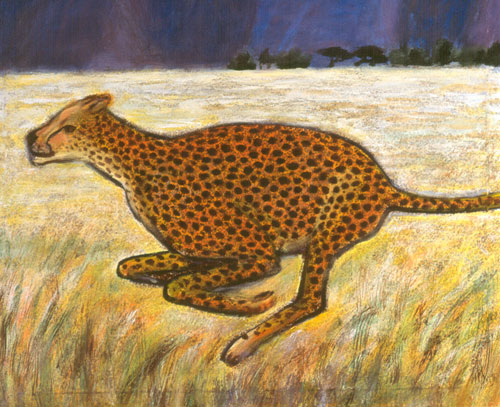 Cheetah  (figures animals, Acrylic) - Fine Art by Donald G. Vogl, Fort Collins, Colorado