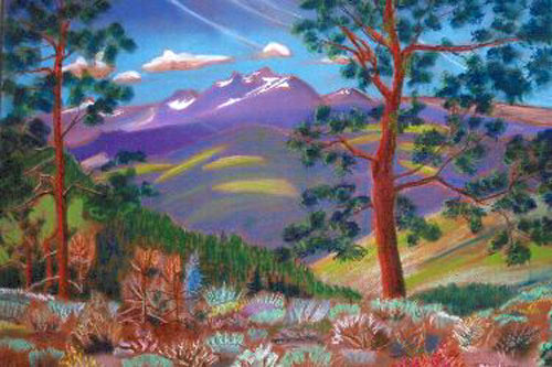 Colorado Snow Peaks Colorado (landscapes, Pastel) - Fine Art by Donald G. Vogl, Fort Collins, Colorado