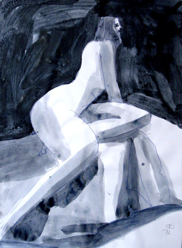 Copenhagen  (abstracts figures monochromes, Acrylic) - Fine Art by Donald G. Vogl, Fort Collins, Colorado