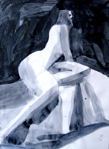 Copenhagen  (abstracts figures monochromes, Acrylic) - Fine Art by Donald G. Vogl, Fort Collins, Colorado