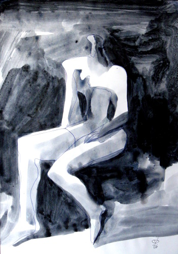 Cotton  (abstracts figures monochromes, Acrylic) - Fine Art by Donald G. Vogl, Fort Collins, Colorado