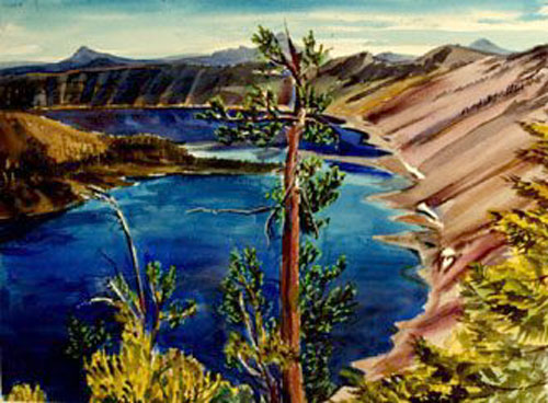 Crater Lake Crater Lake, Oregon (landscapes, Watercolor) - Fine Art by Donald G. Vogl, Fort Collins, Colorado
