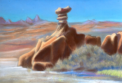 Crown Goblin Park, Utah (landscapes, Pastel) - Fine Art by Donald G. Vogl, Fort Collins, Colorado