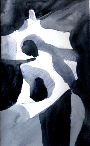 Double Arch  (abstracts figures monochromes, Acrylic) - Fine Art by Donald G. Vogl, Fort Collins, Colorado