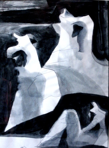 Dress Rehearsal  (abstracts figures monochromes, Acrylic) - Fine Art by Donald G. Vogl, Fort Collins, Colorado