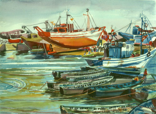 Essaouira Essaouira, Morocco (landscapes, Watercolor) - Fine Art by Donald G. Vogl, Fort Collins, Colorado