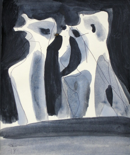 Family  (abstracts figures monochromes, Acrylic) - Fine Art by Donald G. Vogl, Fort Collins, Colorado