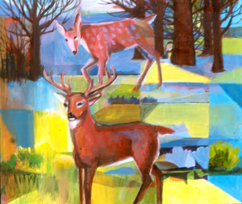 Fawn and Buck  (figures animals, Acrylic) - Fine Art by Donald G. Vogl, Fort Collins, Colorado