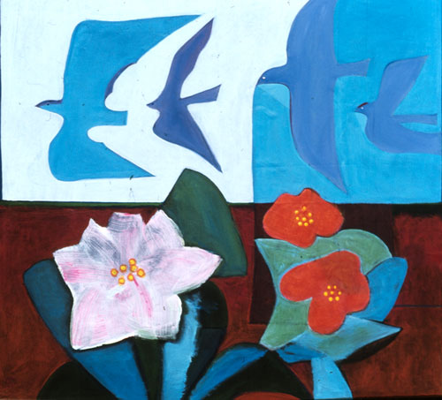 Flight and Flowers  (still-lifes animals, Acrylic) - Fine Art by Donald G. Vogl, Fort Collins, Colorado