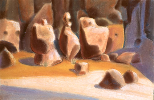 Four In Line Goblin Valley State Park, Utah (landscapes, Pastel) - Fine Art by Donald G. Vogl, Fort Collins, Colorado