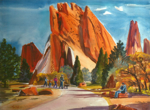 Garden of the Gods Garden of the Gods, Colorado Springs, Colorado (landscapes, Watercolor) - Fine Art by Donald G. Vogl, Fort Collins, Colorado