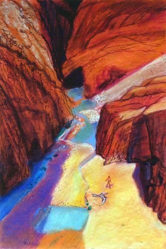 Gorges du Dadès Morocco (landscapes, Pastel) - Fine Art by Donald G. Vogl, Fort Collins, Colorado