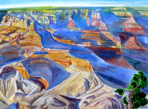Grand Canyon Grand Canyon, Arizona (landscapes, Watercolor) - Fine Art by Donald G. Vogl, Fort Collins, Colorado