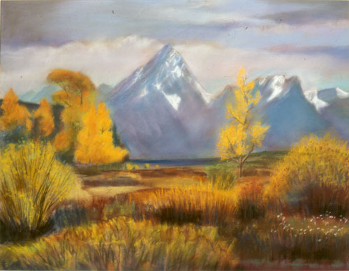 Grand Teton Gold Grand Teton National Park, Wyoming (landscapes, Pastel) - Fine Art by Donald G. Vogl, Fort Collins, Colorado