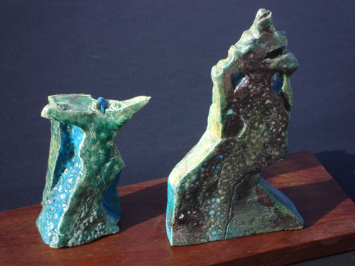 Greeting, Curtsy  (ceramics, Raku) - Fine Art by Donald G. Vogl, Fort Collins, Colorado