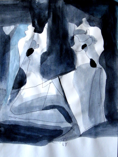 Greeting  (abstracts figures monochromes, Acrylic) - Fine Art by Donald G. Vogl, Fort Collins, Colorado