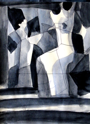 Heart  (abstracts figures monochromes, Acrylic) - Fine Art by Donald G. Vogl, Fort Collins, Colorado
