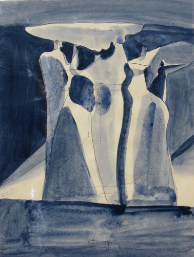 Holding a Cloud  (abstracts figures monochromes, Acrylic) - Fine Art by Donald G. Vogl, Fort Collins, Colorado