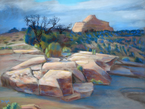In the Spotlight San Rafael Swell, Utah (landscapes, Pastel) - Fine Art by Donald G. Vogl, Fort Collins, Colorado