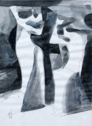 Jitterbugs  (abstracts figures monochromes, Acrylic) - Fine Art by Donald G. Vogl, Fort Collins, Colorado