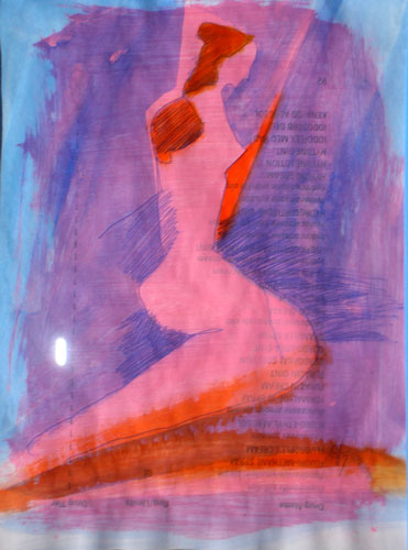 Kneeling Figure  (figures, Acrylic and Ink) - Fine Art by Donald G. Vogl, Fort Collins, Colorado