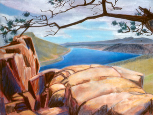 Long View - Horsetooth Horsetooth Reservoir, Colorado (landscapes, Pastel) - Fine Art by Donald G. Vogl, Fort Collins, Colorado