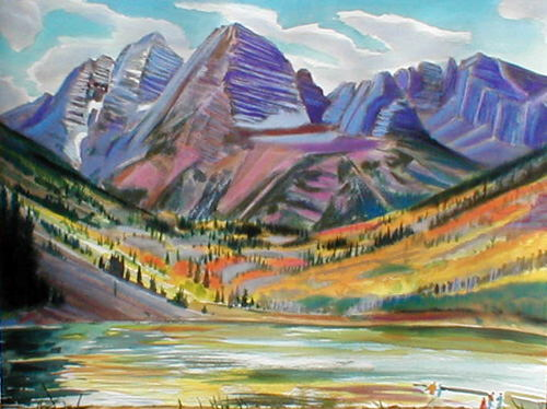 Maroon Bells Maroon Bells, Colorado (landscapes, Watercolor and Pastel) - Fine Art by Donald G. Vogl, Fort Collins, Colorado