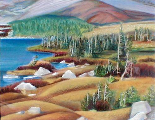 Medicine Bow Shoreline Medicine Bow National Forest, Wyoming (landscapes, Pastel) - Fine Art by Donald G. Vogl, Fort Collins, Colorado